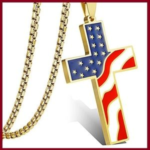 Other - American Flag Cross Necklace